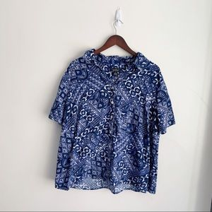 Erika Tops - Erika 1X Button Down Shirt Blue